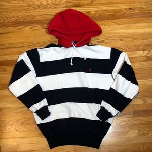 Polo by Ralph Lauren Blue White Red Hoodie Sz M